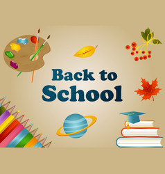 back to school background with school items vector image vector image