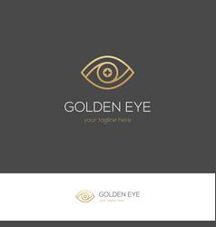 Golden linear eye logo vector