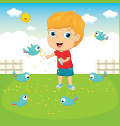 of a kid feeding birds vector image