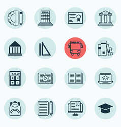 Set of 16 school icons includes electronic tool vector