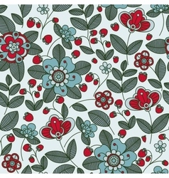 Strawberry berries and flowers seamless pattern vector image vector image