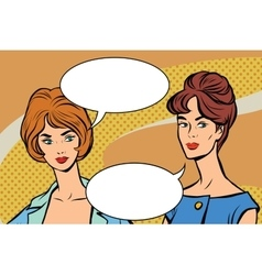 Two girlfriends retro women pop art vector image vector image