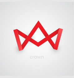 abstract red paper crown on white background vector image vector image