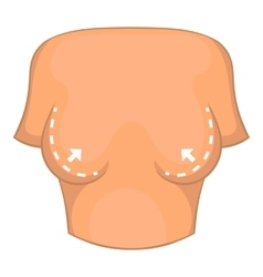 Female breast correction icon cartoon style vector
