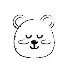Figure teddy bear boy head animal wild vector