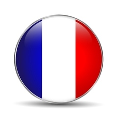 France flag glossy button vector image