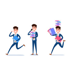 young businessman character design set vector image