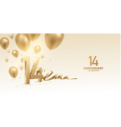 14th anniversary celebration background vector