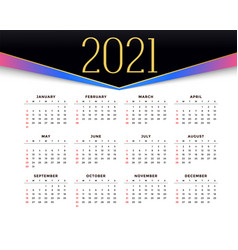 2021 stylish calendar design for new year vector