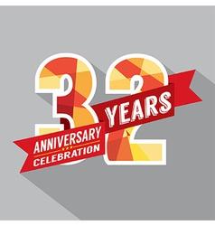 32nd Years Anniversary Celebration Design vector image