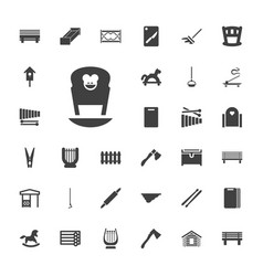 33 wooden icons vector