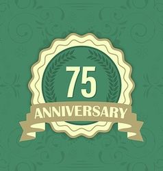 75th anniversary label on a green ornament vector image