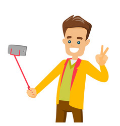 a white man making selfie on his cellphone with a vector image