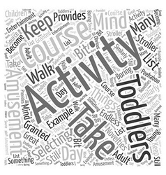 Activity for toddlers Word Cloud Concept vector