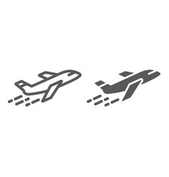 airplane line and glyph icon aircraft and travel vector image