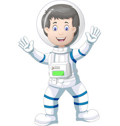 Astronaut in white blue suit uniform cartoon vector