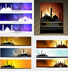attractive set of brochure and banner of eid vector image