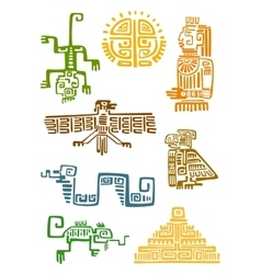 Aztec and maya ornamental symbols vector