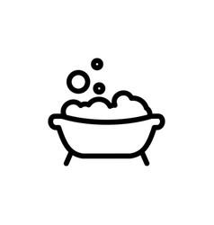 Baby bath thin line icon outline symbol bath with vector