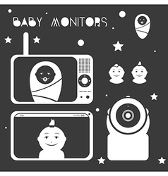 Baby monitors design element white vector
