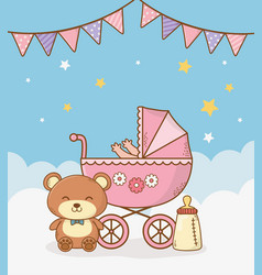 Bashower card with pink cart vector