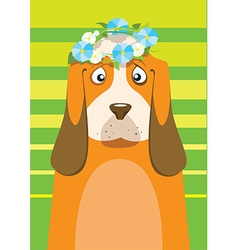 Basset hound with flower wreath on head over green vector