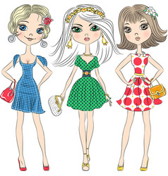 Beautiful fashion girls top models vector