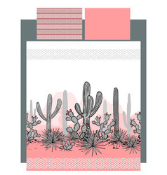 Bedding with mexican cactuses and mountains vector