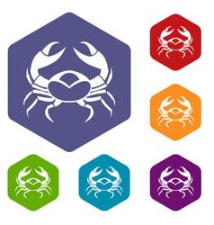 big crab icons set hexagon vector image