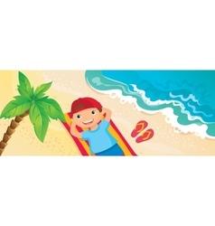 Boy Lying On The Beach vector image