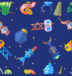 Bright extraterrestrial future city pattern in vector