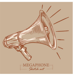 Brown toned modern stylized sketch megaphone vector