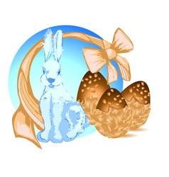 Bunny and chocolate eggs vector image
