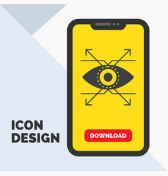business eye look vision glyph icon in mobile for vector image