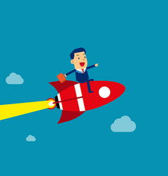 Businessman sitting on rocket go to success vector