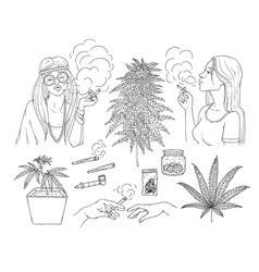 cannabis smoking symbols sketch icon set vector image
