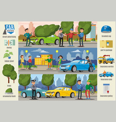 Car insurance cases infographic horizontal banners vector