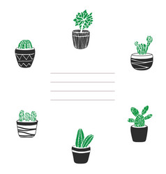 card and cover with cute hand drawn cacti i vector image