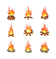 cartoon bonfire tourist summer campfires flame vector image