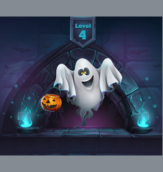 Cartoon ghost with pumpkin vector