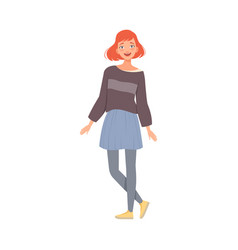 Cheerful teenager girl with ginger hair flat vector