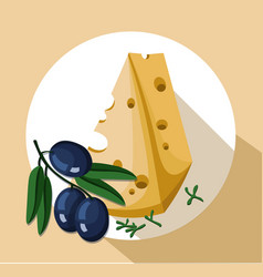 Cheese slice and olives icon template tasty vector