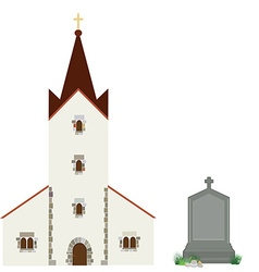 Church and gravestone vector