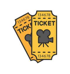 cinema tickets color icon vector image