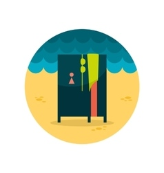 Cloakroom on the beach flat icon vector