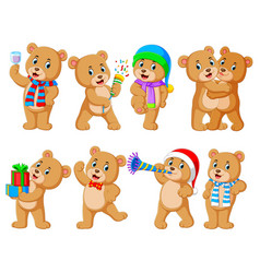 collection cute bear with various posing vector image