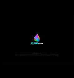 Colorful modern 3d diamond crystal gem stone rock vector