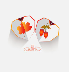 Creative paper heart happy autumn leaves vector