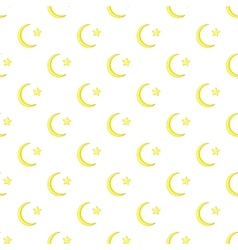 Crescent and star pattern cartoon style vector