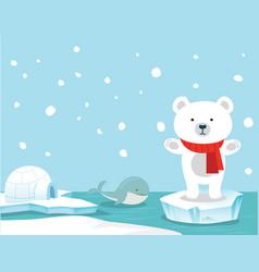 Cute polar bear and whale background vector